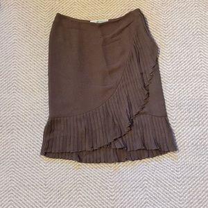Carolina Herrera brown silk pleated skirt NWTs!
